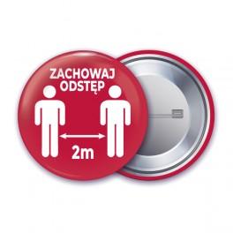 Przypinki 75 mm - Zachowaj Odstęp